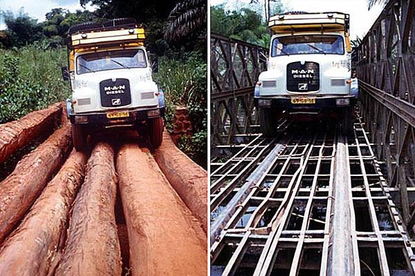 Два опасных моста на Пан-Африканской трассе