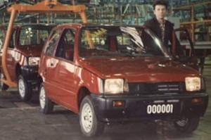 Первый сошедший с конвейера серий автомобиль ВАЗ-1111 «Ока». 1987 год.