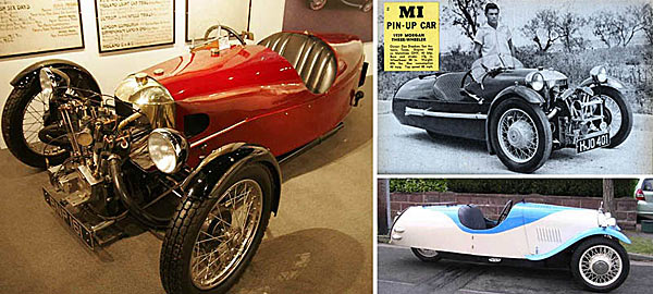 Разные версии трехколесного Morgan Runabout.