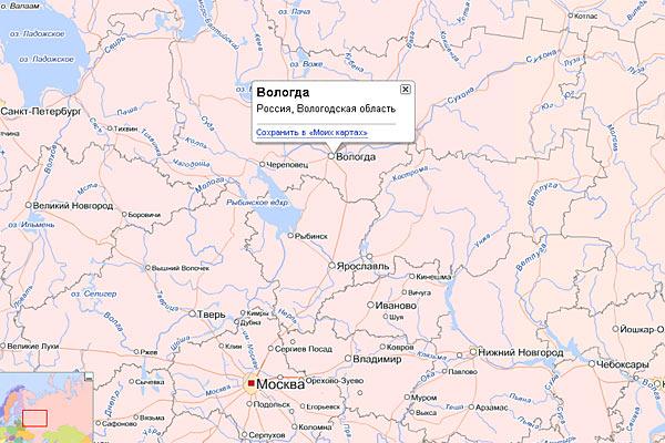 Вологда на карте Российской Федерации