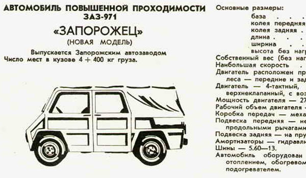 Анонсирование ЗАЗ-971 в журнале